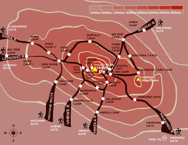 Kilimandscharo-Routen-Karte